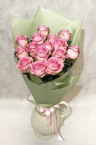 Букет из розовой розы №807