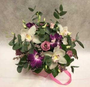 Коробка с цветами Нежность №750